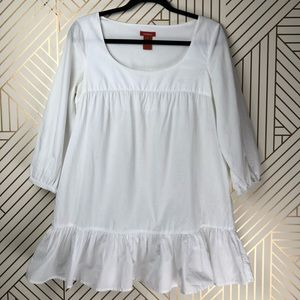 Sundance S solid white blouse babydoll top